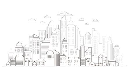 Modern City Skyline drawing line
