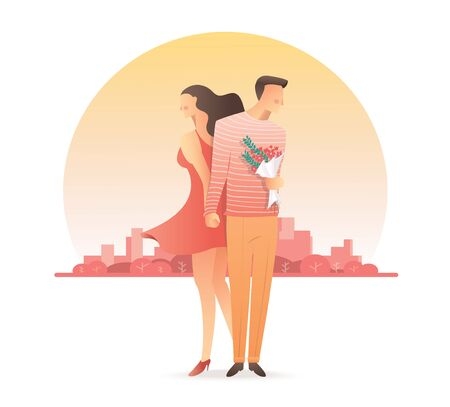 Man and woman holding hands for valentines day. Ilustração