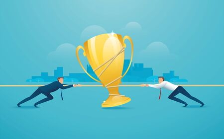 Businessmen pull the rope with trophy icon business concept. 向量圖像