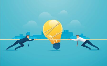 Businessmen pull the rope with light bulb icon business concept. Illusztráció