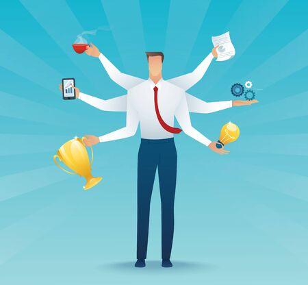 Businessmen character multitasking hard work. concept of working hard 向量圖像