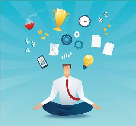 Businessmen sitting in lotus pose meditation multitasking hard work concept of working hard Banque d'images - 130953597