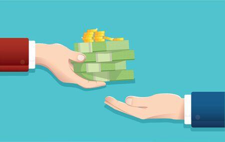 Businessman give money, salary concept Illustration