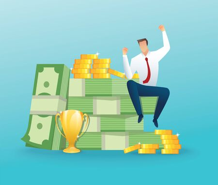 Businessman sitting on a big money and coins.