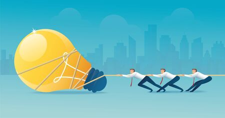 Businessmen pull the rope with light bulb icon, creative concept.
