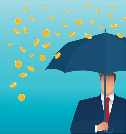 Business man holding an umbrella, money falling from the sky. concept of success.
