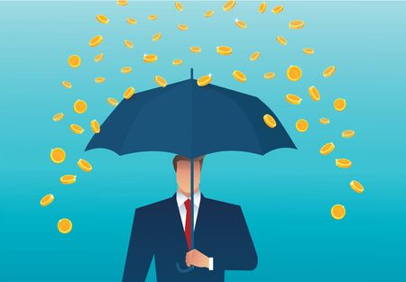 Business man holding an umbrella, money falling from the sky.