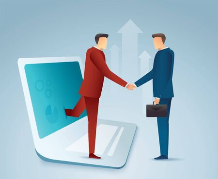 Business people shaking hands through laptop.