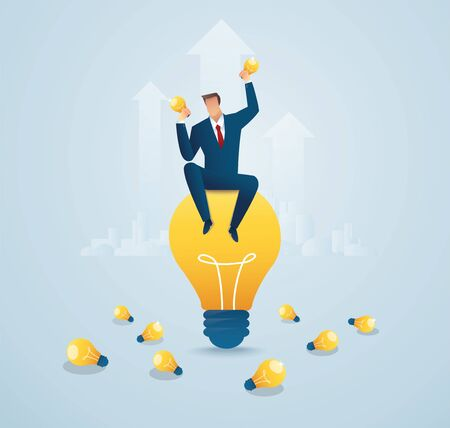 Business man sitting on light bulb. Ilustrace
