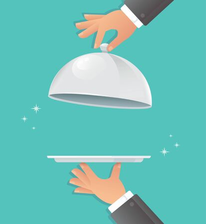 Waiter hands with silver cloche.
