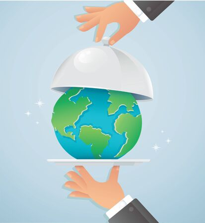 Hands holding silver cloche with earth. Ilustrace