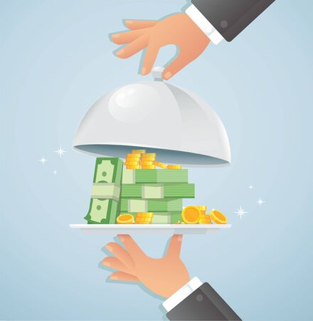 Hands holding silver cloche with money. business concept vector illustration Ilustrace