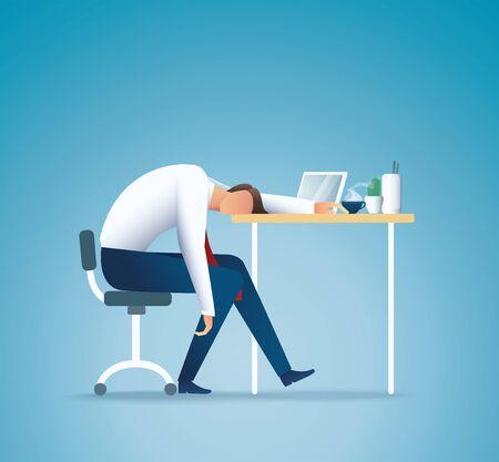 Dormir en el trabajo. Hombre de negocios cansado. Ilustración de vector de concepto de exceso de trabajo EPS10