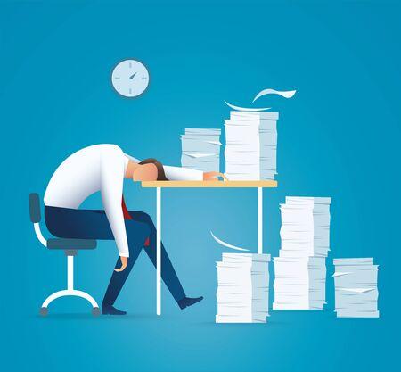 Tired business man. overworking concept vector illustration EPS10 Illustration