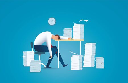Tired business man. overworking concept vector illustration EPS10 Ilustrace