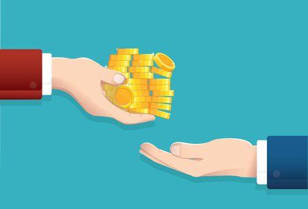 Businessman give money, salary concept vector illustration