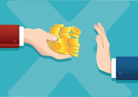 Businessman refusing money offered, corruption concept vector illustration EPS10