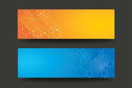 Modern line hexagon template banner