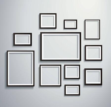 Vierkante geïsoleerde fotolijst op de muur