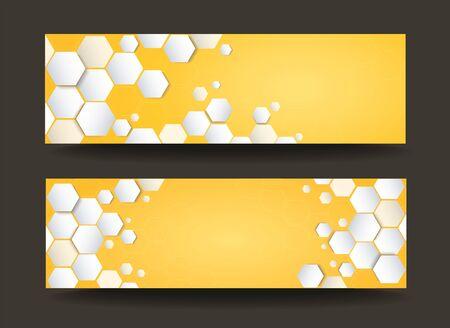 modern yellow hexagon template banner background vector
