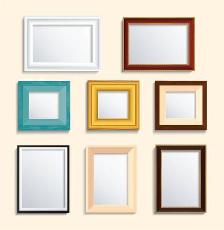 set van geïsoleerde fotolijst op muur vectorillustratie