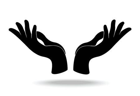 hands holding design vector, hands pray Çizim