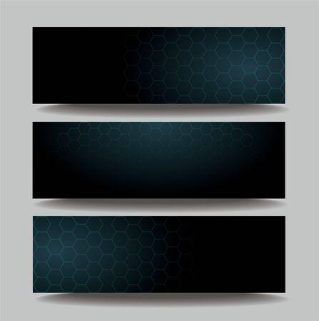 dark hexagon template banner background vector EPS10