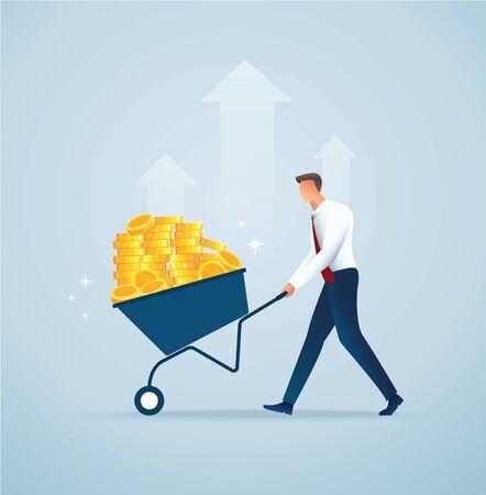businessman push cart full of gold coins vector illustration EPS10