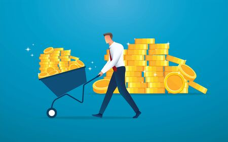 businessman push cart full of gold coins vector illustration EPS10