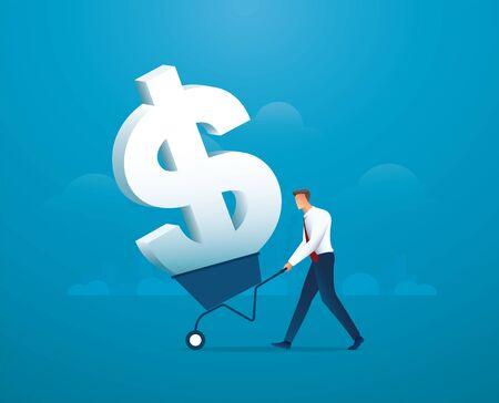 businessman push cart full of dollar icon vector illustration Çizim