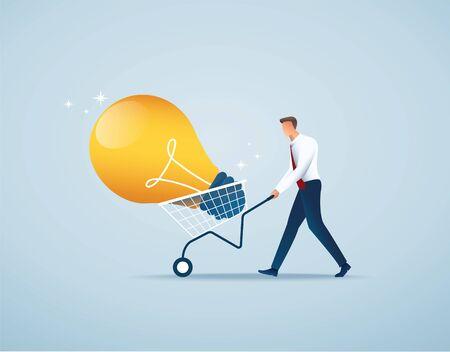 businessman push cart full of light bulbs, creative concept vector illustration EPS10