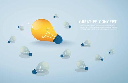 creative idea concept, light bulbs background vector illustration EPS10