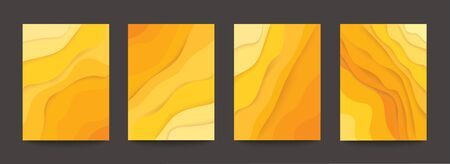 abstract yellow wave template background vector illustration