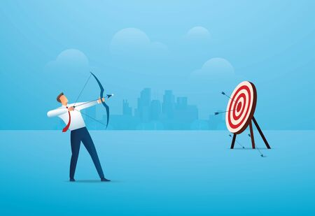 businessman with bow aiming the target. concept business vector illustration Çizim