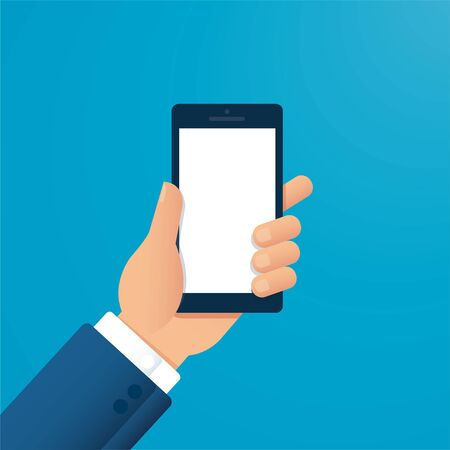 hand holding smartphone vector illustration EPS10 Çizim