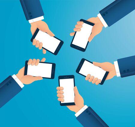 many hands holding smartphone vector illustration EPS10
