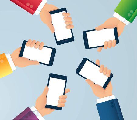 Muchas manos sosteniendo la ilustración de vector de teléfono inteligente EPS10
