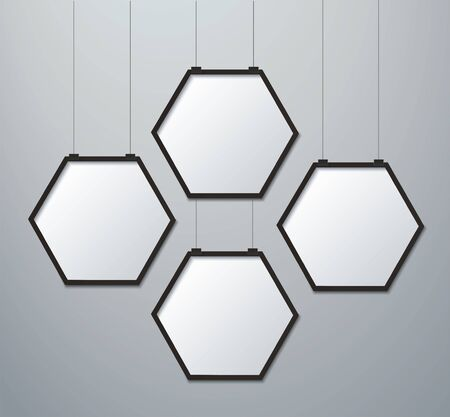 hexagon frame picture background vector illustration