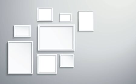 square isolated white picture frame on wall vector illustration