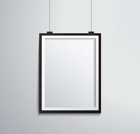 isolated picture frame on wall vector illustration
