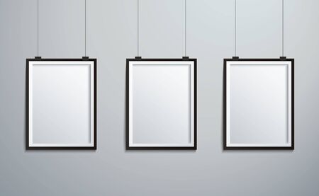 isolated picture frames hanging on wall vector illustration EPS10