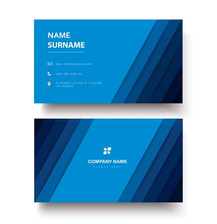 modern blue lines double sided business card template vector Çizim