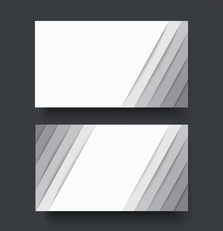 modern white lines double sided business card template vector Иллюстрация