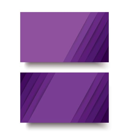 modern purple lines double sided business card template vector