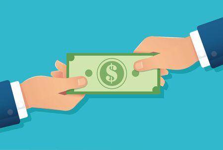 hand holding dollar bill , hands giving money vector illustration