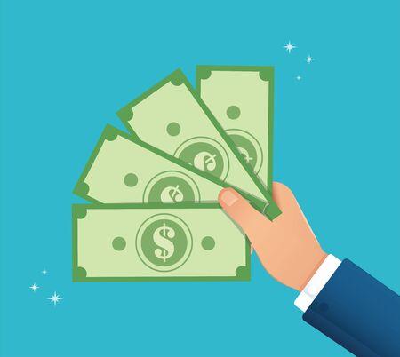 hand holding dollar bill vector illustration EPS10