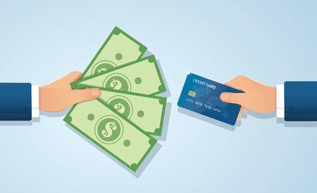 Hands holding credit card and money bills vector illustration EPS10