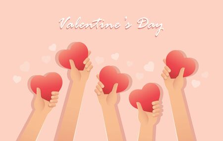 hands holding heart , Valentine background vector illustration EPS10