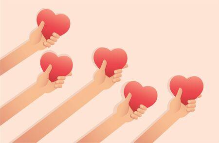 hands holding heart , Valentine background vector illustration EPS10