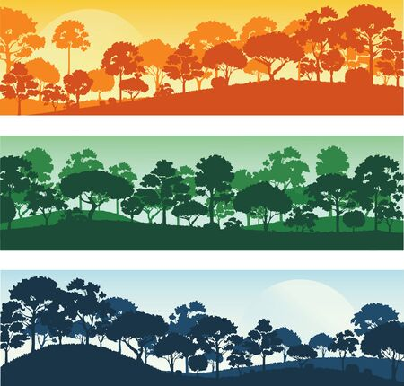 forest trees silhouettes , forest landscape template banner background vector illustration EPS10